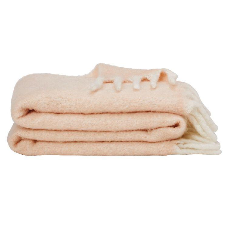 Living & Co Raised Wool Mix Throw Pink 127cm x 152cm, Pink, hi-res