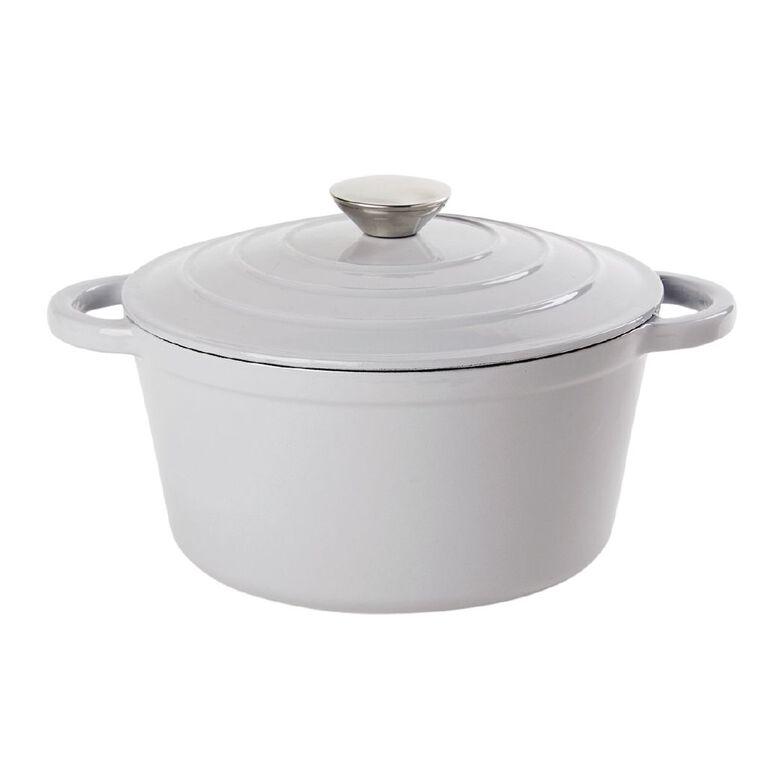 Living & Co Cast Iron Casserole Dish Round Light Grey 4L, , hi-res