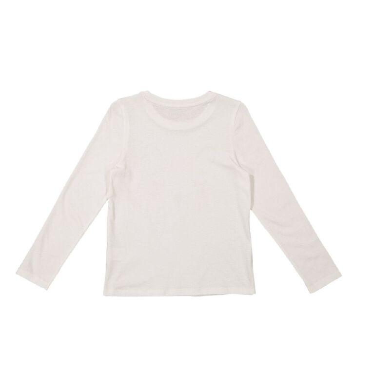 Young Original Girls' Long Sleeve Print Tee, White BEAR, hi-res
