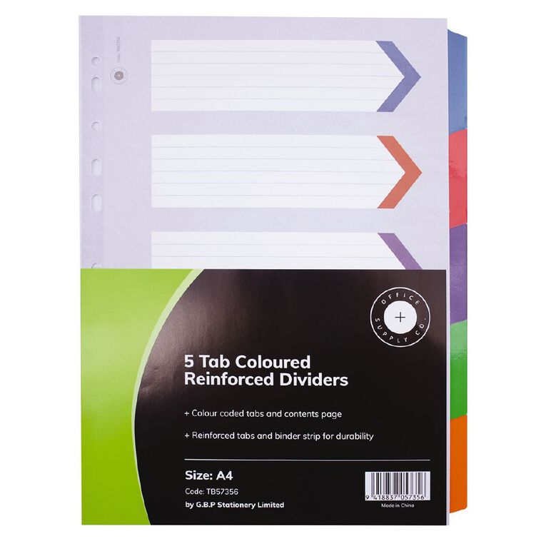 Office Supply Co 5 Tab Coloured Reinforced Dividers, , hi-res