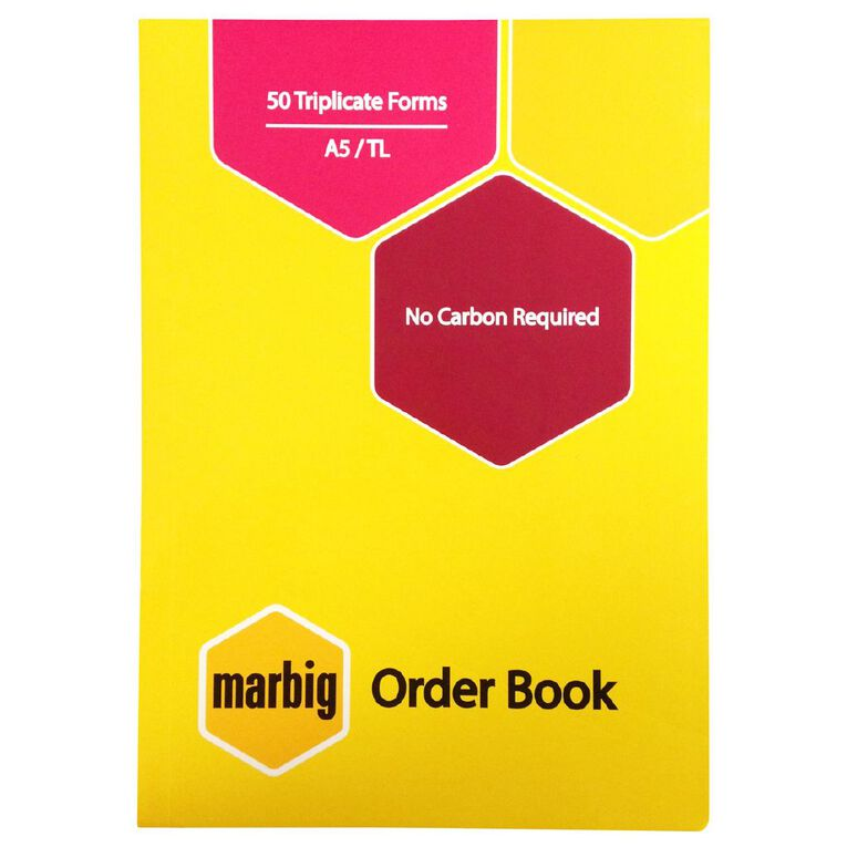 Marbig Order Book Triplicate 50 Leaf Yellow A5, , hi-res