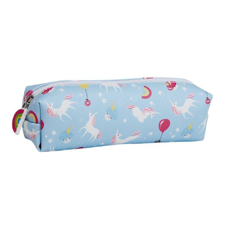 Kookie Bright Pencil Case Barrel Unicorn Blue, , hi-res