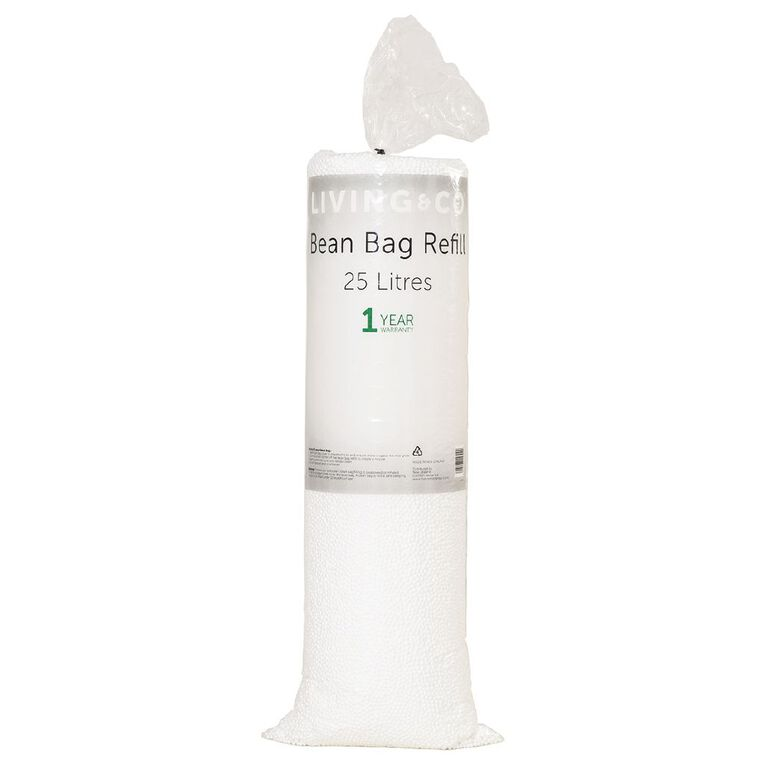 Living & Co Bean Bag Refill 25L White, , hi-res