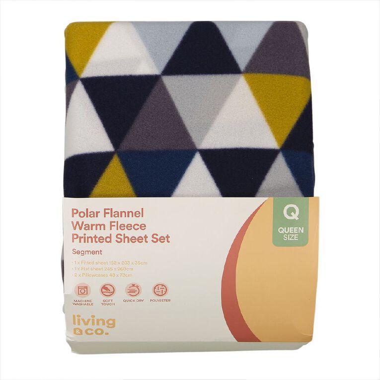 Living & Co Sheet Set Polar Flannel Segment Multi-Coloured Queen, Multi-Coloured, hi-res