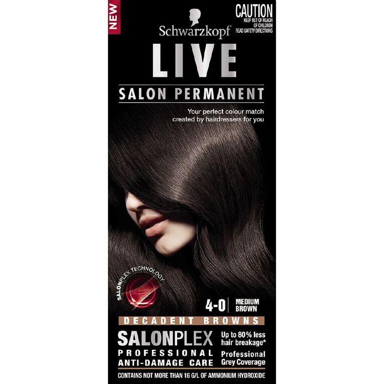 Schwarzkopf Live Salon Permanent 4-0 Medium Brown, , hi-res