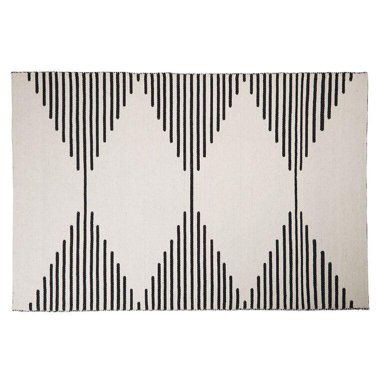 Living & Co Diamond Border Cotton Area Rug White 160cm x 230cm, White, hi-res