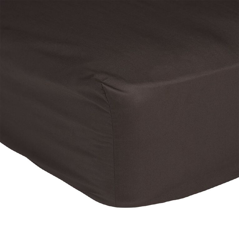 Living & Co Sheet Fitted Cotton 400 Thread Count Charcoal Single, Charcoal, hi-res