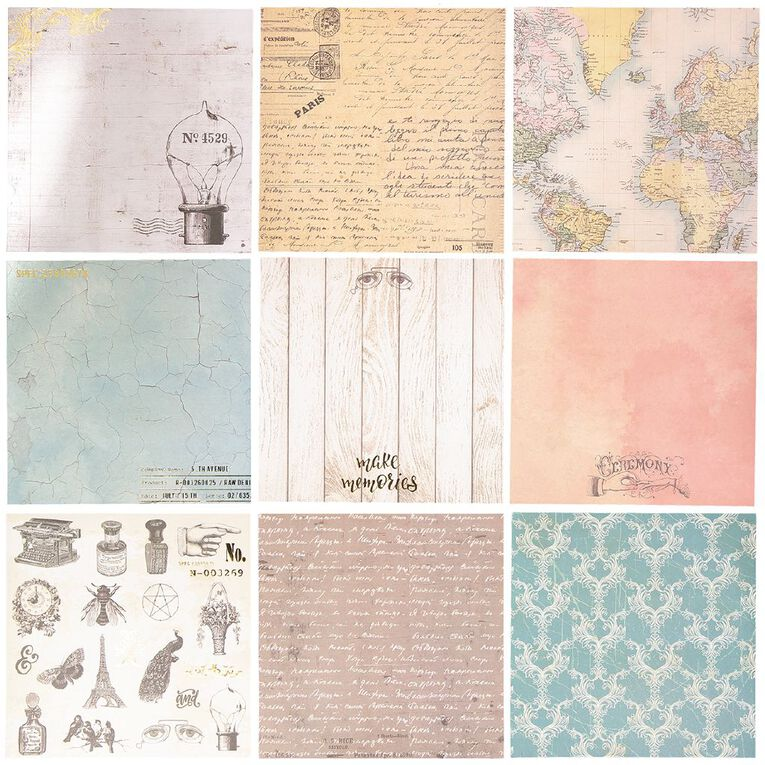 Uniti Vintage Paper Pad 12 Sheets 12in x 12in, , hi-res