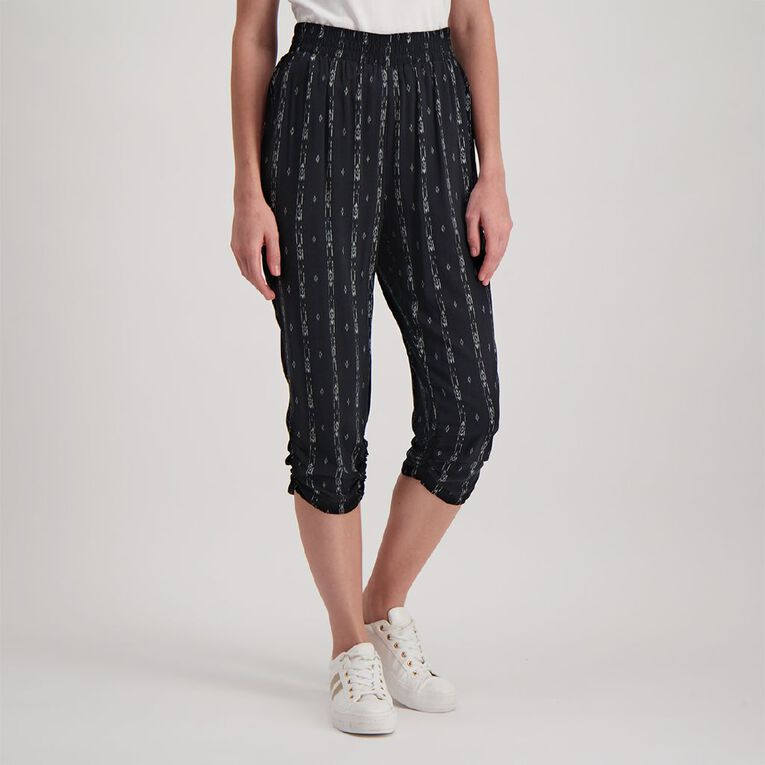 H&H Women's Harem Crop Pants, Black/White, hi-res image number null