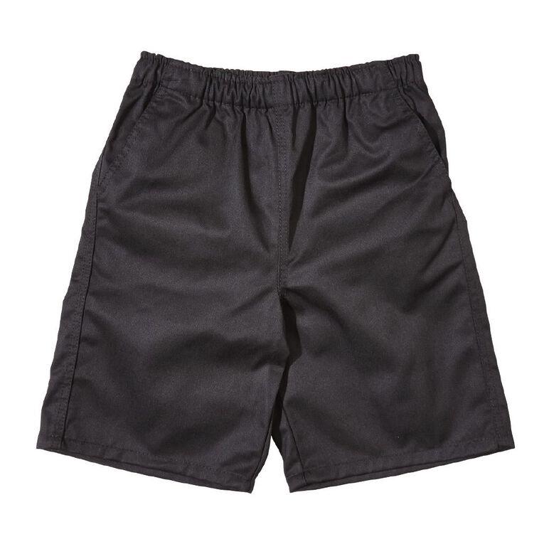 Schooltex Kids' Drill Rugger Shorts, Black, hi-res