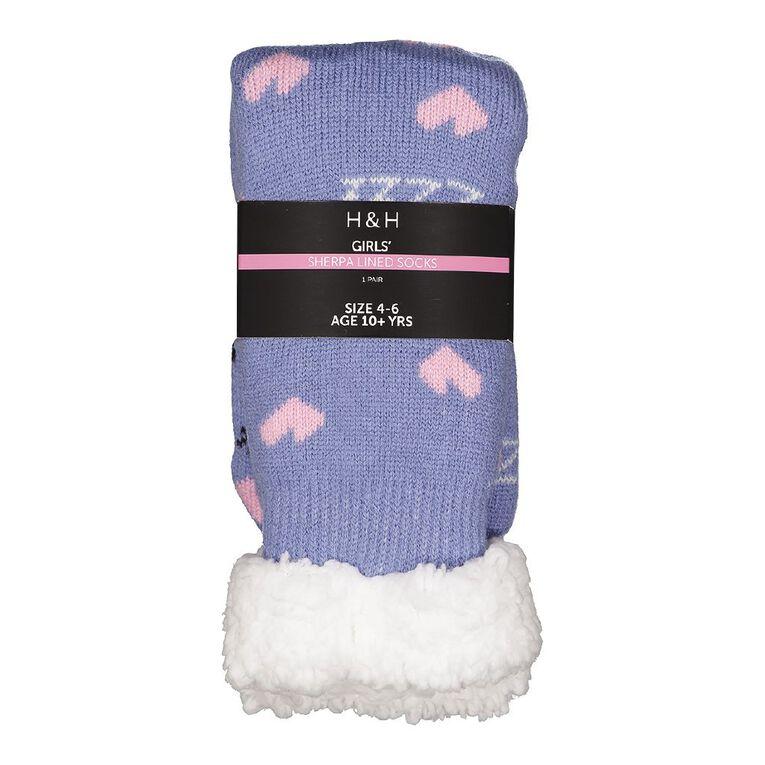 H&H Girls' Sherpa Bedsocks, Purple Light, hi-res
