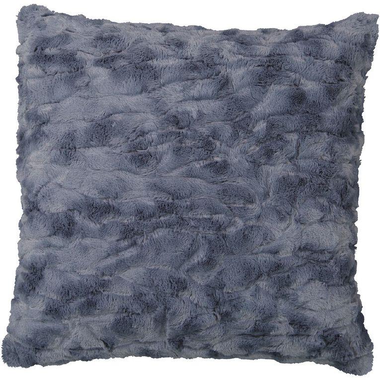 Living & Co Textured Faux Fur Cushion Mirage Blue 50cm x 50cm, Blue, hi-res