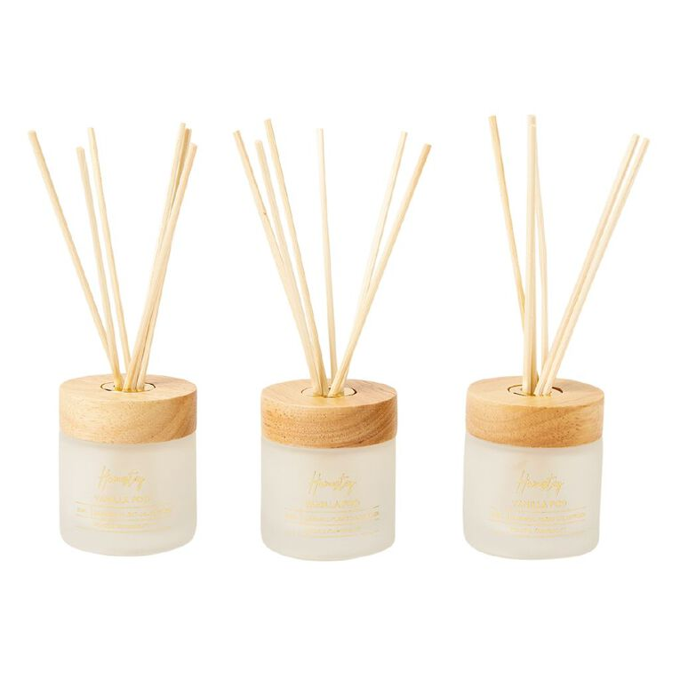 Living & Co Homestay Diffuser Set of 3 Vanilla Pod White 50ml, , hi-res