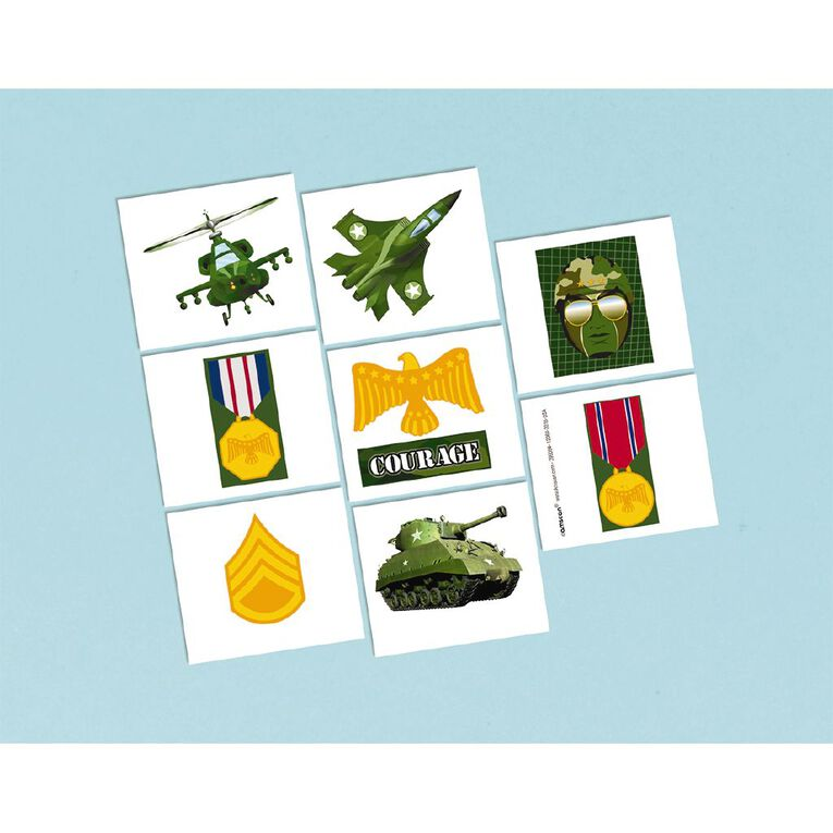 Amscan Camouflage Tattoos Party Favours 8 Pack, , hi-res