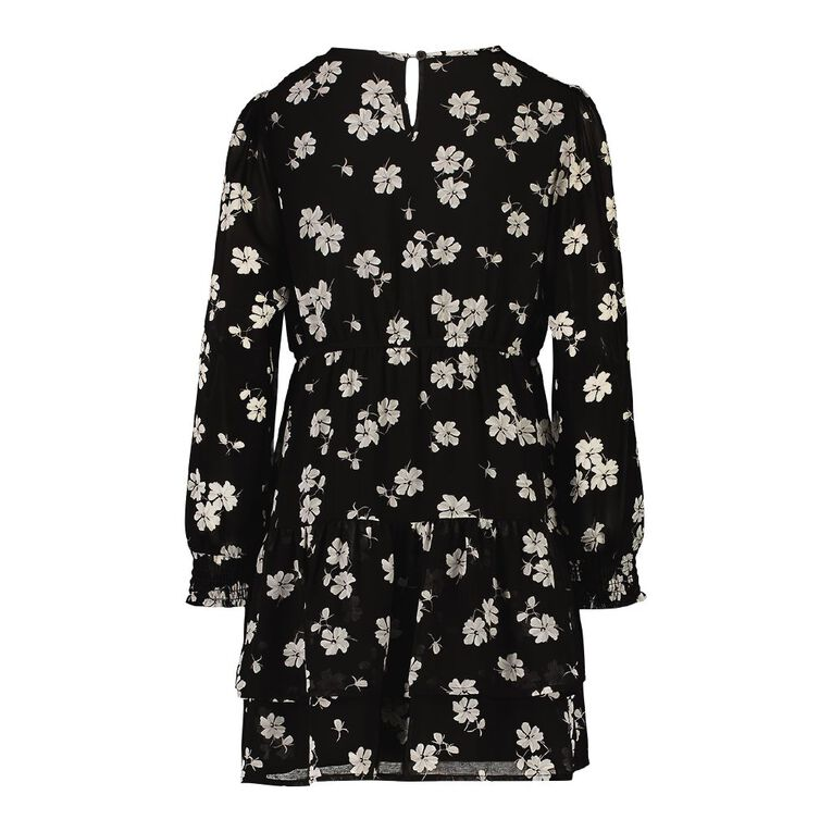 Young Original Long Sleeve Chiffon Dress, Black, hi-res