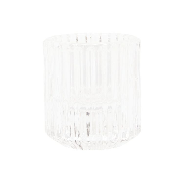 Living & Co Textured Tealight & Table Candle Holder Clear, , hi-res