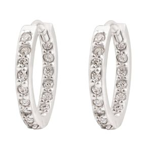 Sterling Silver CZ Huggie Earrings