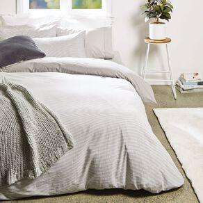 Living & Co Duvet Cover Set Cotton Stripe Grey