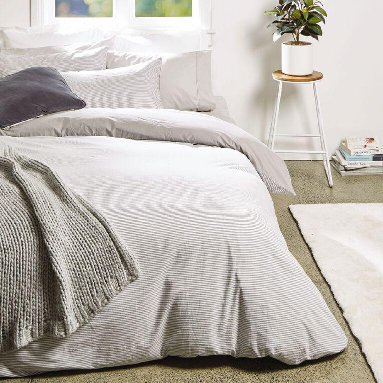 Living & Co Duvet Cover Set Cotton Stripe Grey Queen, Grey, hi-res