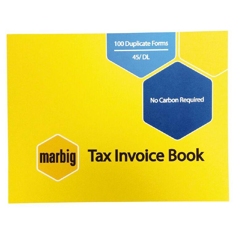 Marbig Invoice Book 45 Duplicate 100 Leaf Yellow, , hi-res
