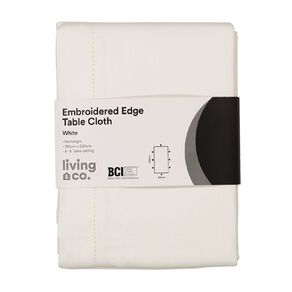 Living & Co Table Cloth with Embroidered Edge White 150cm x 220cm