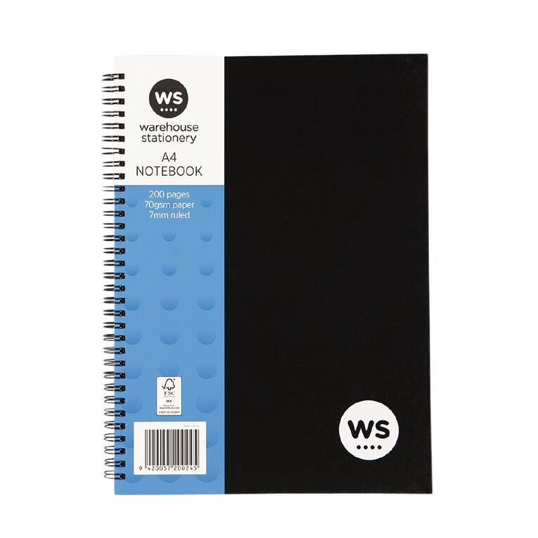 WS Notebook Wiro 200 Page Hard Back Black A4, , hi-res