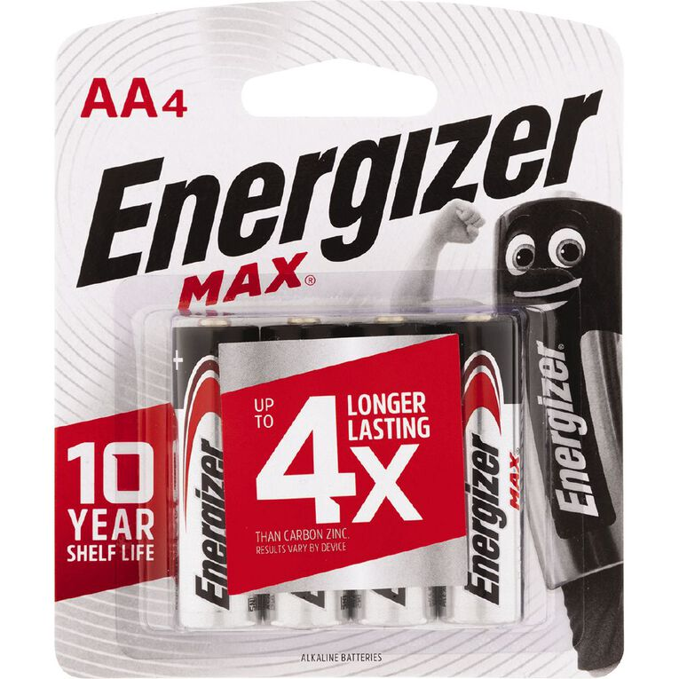 Energizer Max Alkaline Batteries AA 4 Pack, , hi-res