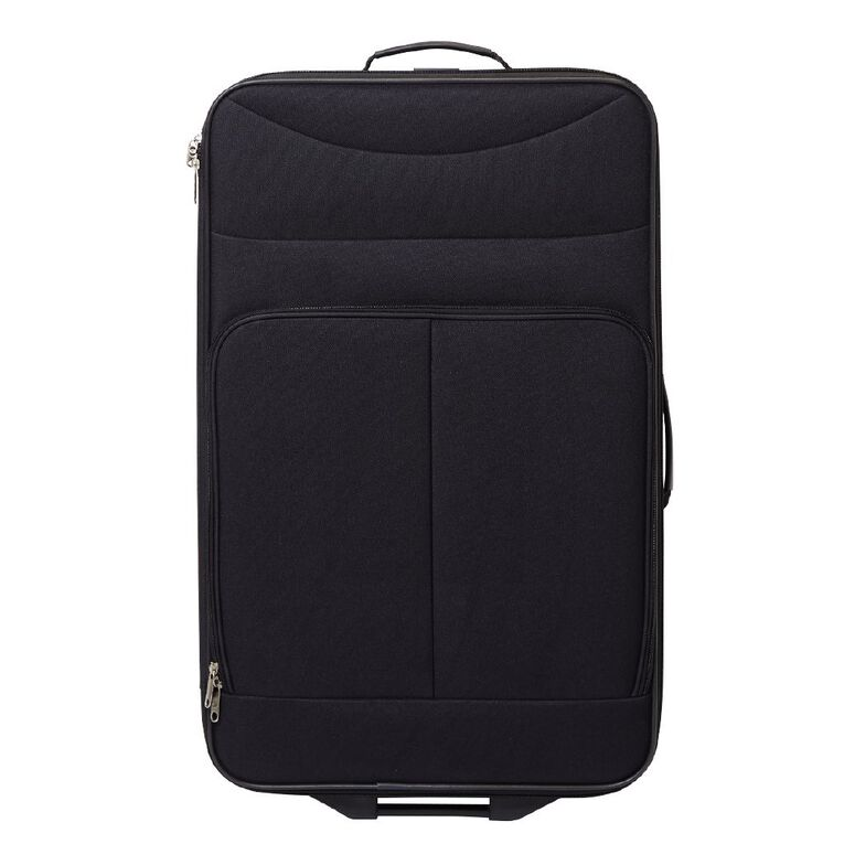 Living & Co 2 Wheel Soft Suitcase, Black, hi-res