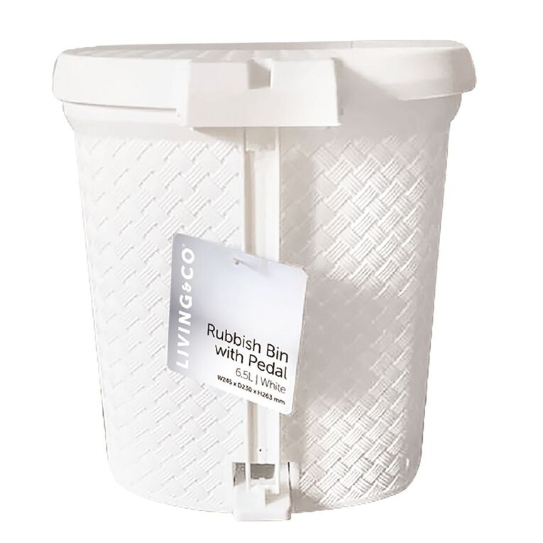Living & Co Rubbish Bin with Pedal White 6.5L, , hi-res
