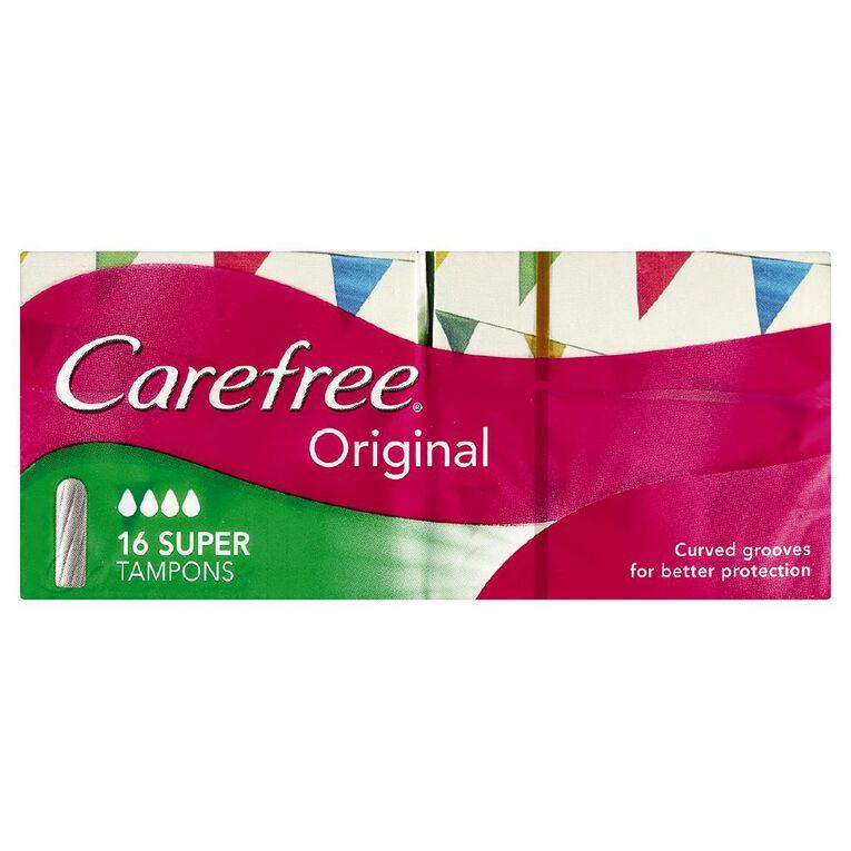 Carefree Super Tampons 16 Pack, , hi-res