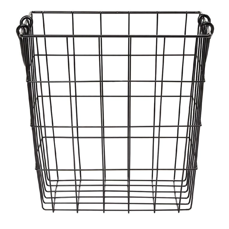 Living & Co Wire Basket with Handles Black, , hi-res