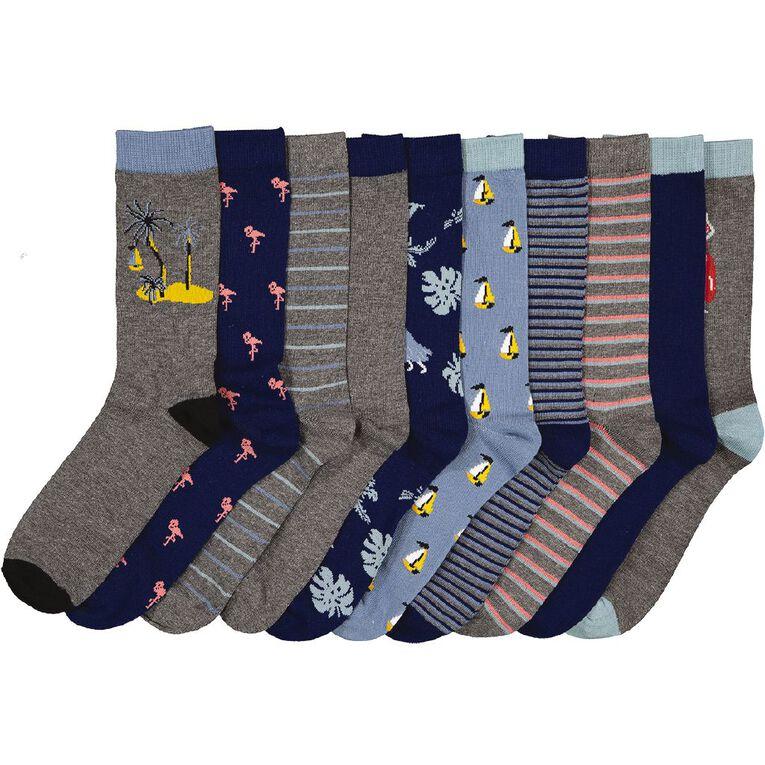 H&H Men's Crew Socks 10 Pack, Charcoal, hi-res