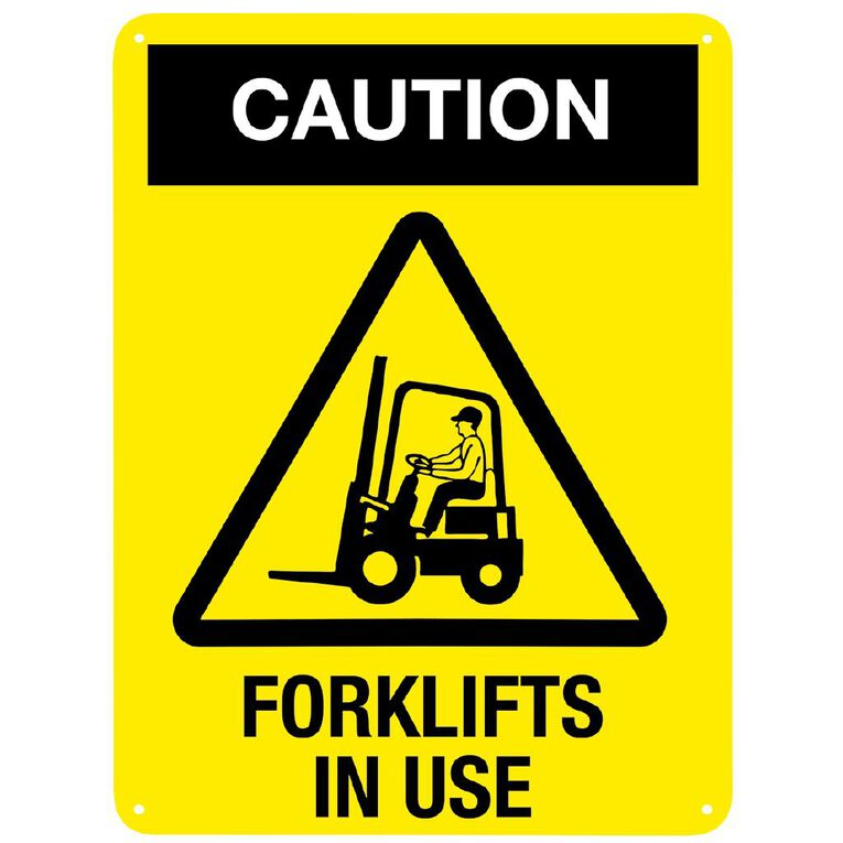 WS Caution Forklift in Use Sign Large 600mm x 450mm, , hi-res
