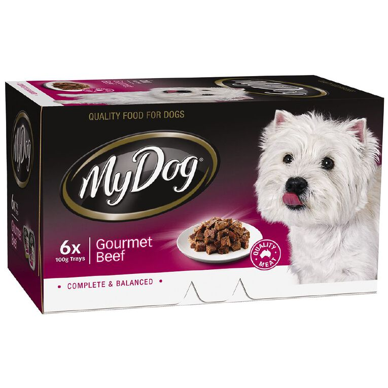 My Dog Wet Dog Food Gourmet Beef Meaty Loaf 6 x 100g Trays 6 Pack, , hi-res