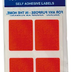 Quik Stik Labels Mr3545 28 Pack Fluoro Red