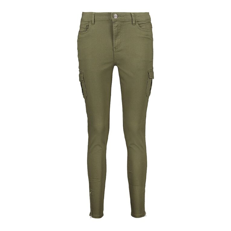 H&H Women's Zip Skinny Cargo Pants, Khaki, hi-res