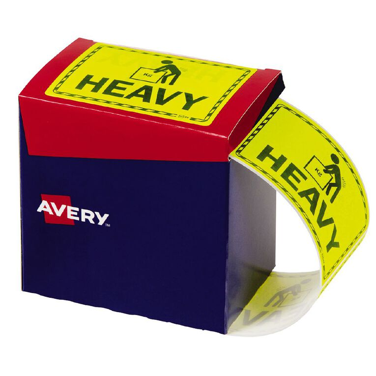 Avery Heavy Labels Fluoro Yellow 750 Labels, , hi-res
