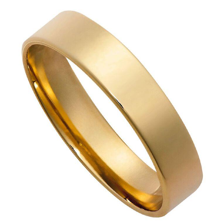 9ct Gold Flat Round Ezi Fit Wedding Ring, Yellow Gold, hi-res