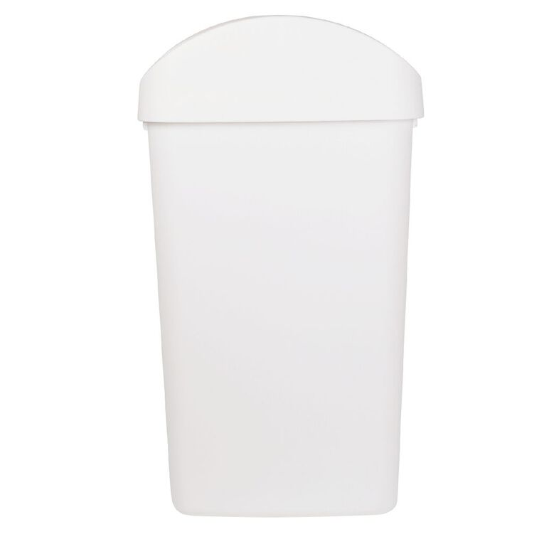 Living & Co Rubbish Bin Slim Line Flip Top White 32L, , hi-res
