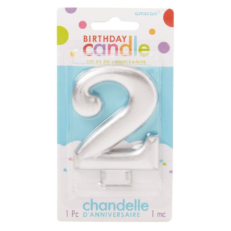 Candle Metallic Numeral #2 Silver, , hi-res