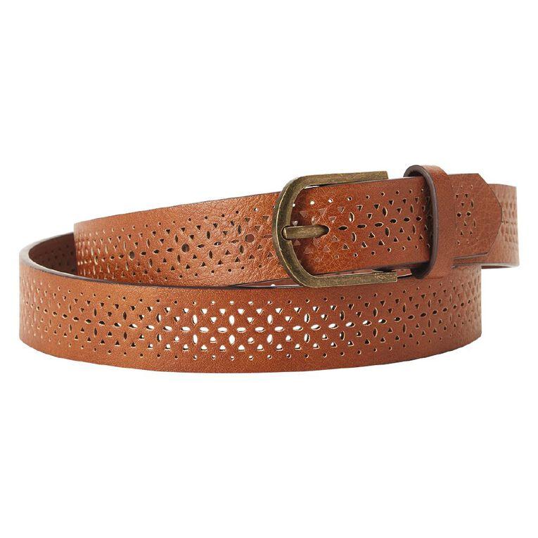 H&H Women's Cutout Belt, Brown, hi-res