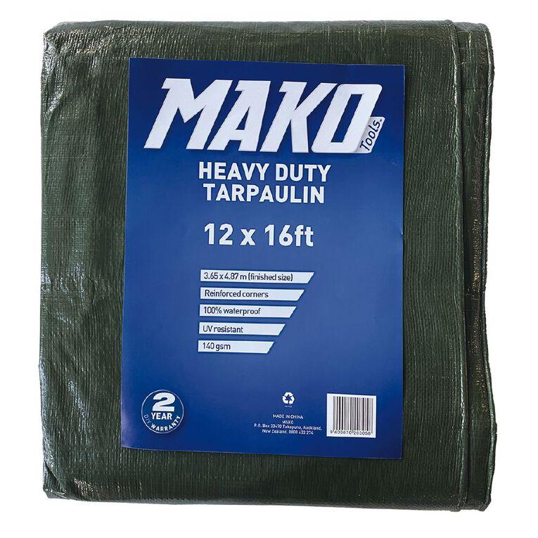 Mako Tarpaulin 140gsm 12ft x 16ft Green, , hi-res