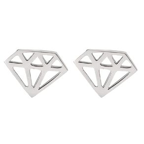 Sterling Silver Cutout Diamond Stud Earrings