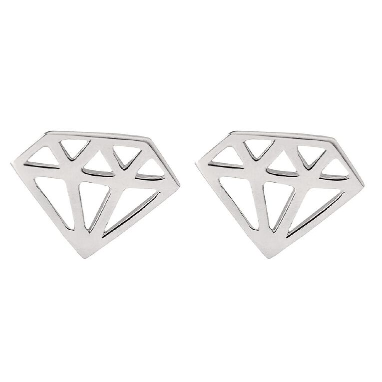 Sterling Silver Cutout Diamond Stud Earrings, , hi-res
