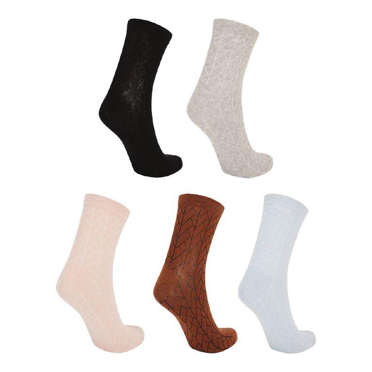 H&H Women's Patterned Ankle Crew Socks 5 Pack, Yellow Dark, hi-res