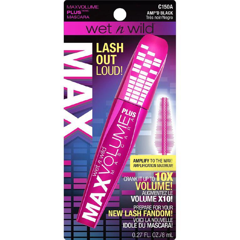 Wet n Wild Max Volume Plus Mascara Amp'd Black, , hi-res