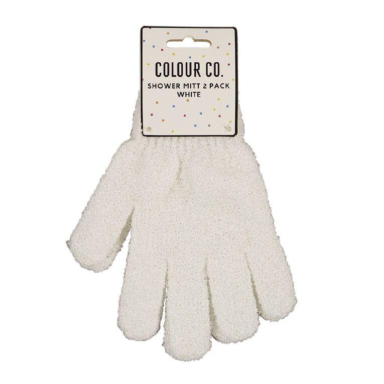 Colour Co. Shower Mitt White 2 Pack, , hi-res