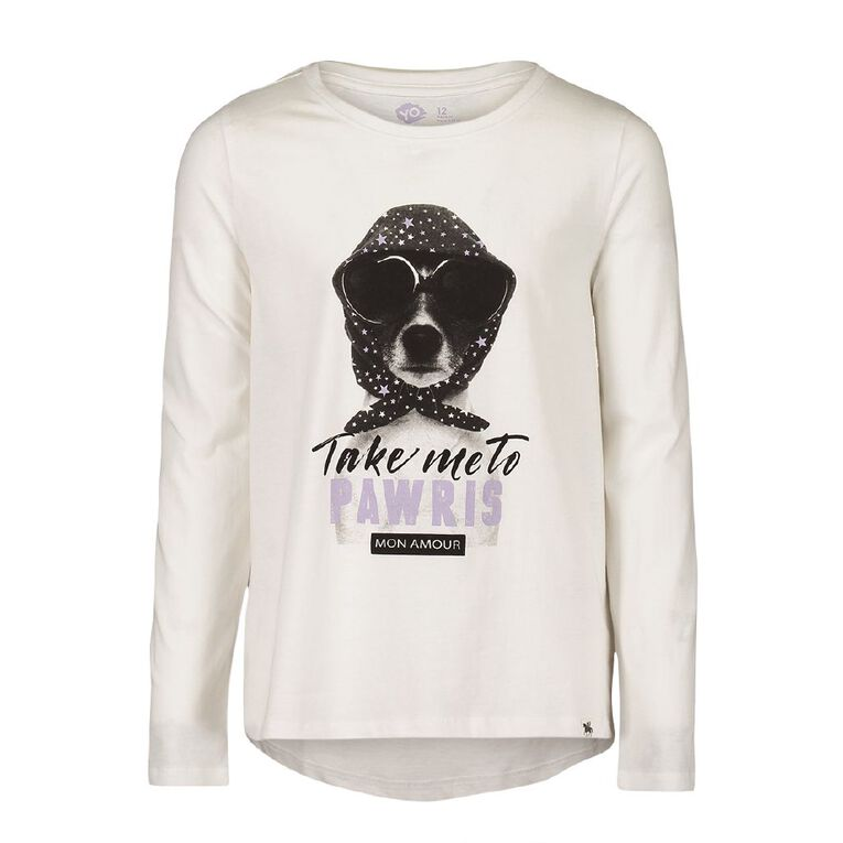 Young Original Girls' Long Sleeve Britney Tee, White, hi-res
