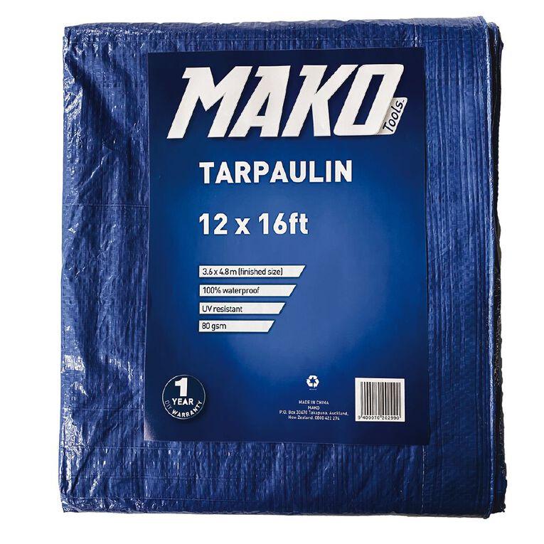 Mako Tarpaulin 80gsm 12ft x 16ft Blue, , hi-res