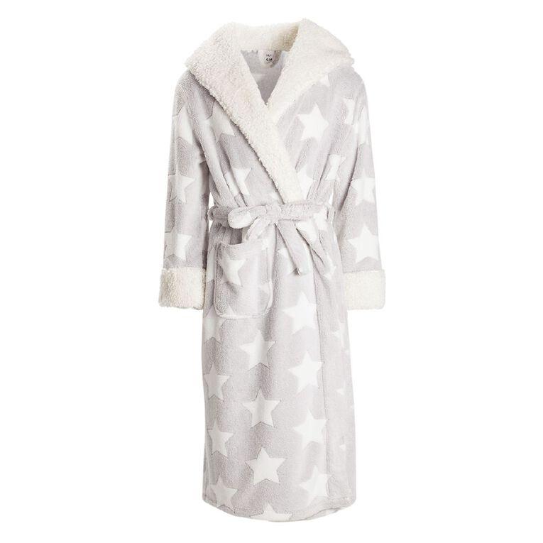 H&H Women's Winter Hooded Robe, Grey, hi-res